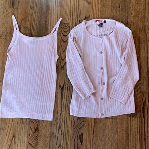 Pink glittery Harolds camisole/sweater set VINTAGE